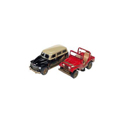 Jeep CJ5 y Chevy Suburban 1950 Esc 1:64