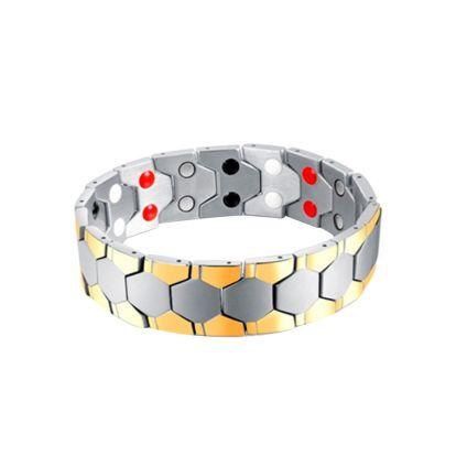 Brazalete magnético eslabones de acero con dorado CR Charms