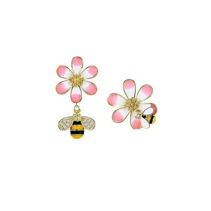 Aretes abejita y flor CR Charms
